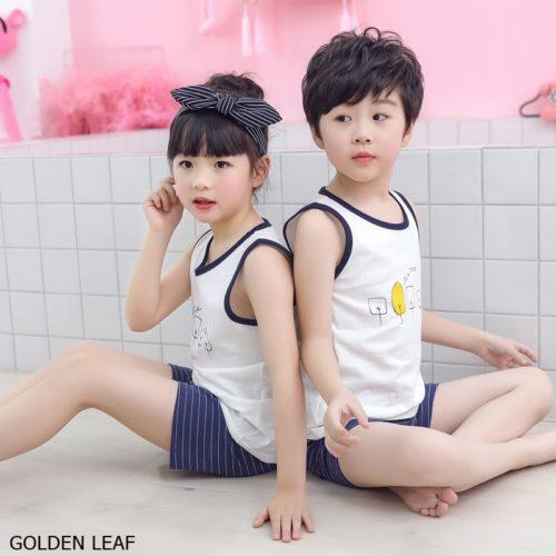 PJ067-leaf Baju Set Casual Anak Bahan Cotton Unisex