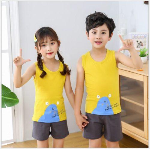 PJ067-sandmonster Baju Set Casual Anak Bahan Cotton Unisex