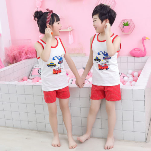 PJ067-trucks Baju Set Casual Anak Bahan Cotton Unisex