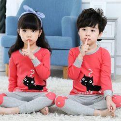 PJ071-blackcat Baju Tidur Set Anak Motif Karakter Unisex