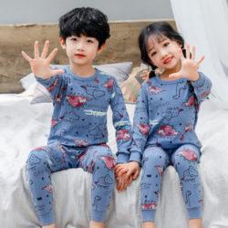 PJ071-bluedino Baju Tidur Set Anak Motif Karakter Unisex