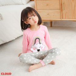 PJ071-cloud Baju Tidur Set Anak Motif Karakter Unisex