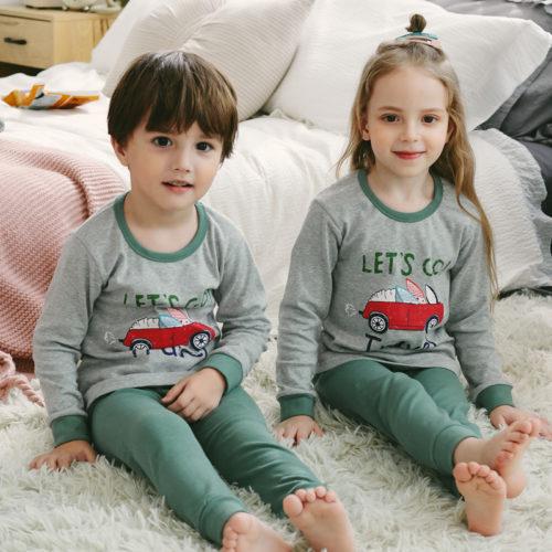PJ071-graycar Baju Tidur Set Anak Motif Karakter Unisex