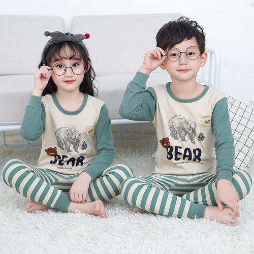 PJ071-greenbear Baju Tidur Set Anak Motif Karakter Unisex