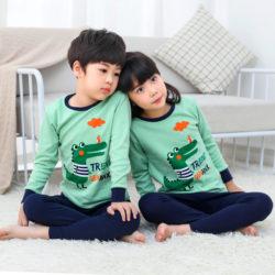PJ071-greendino Baju Tidur Set Anak Motif Karakter Unisex
