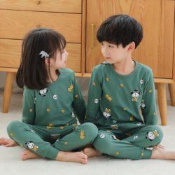 PJ071-greenmonkey Baju Tidur Set Anak Motif Karakter Unisex