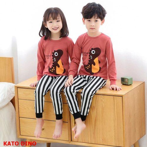 PJ071-katodino Baju Tidur Set Anak Motif Karakter Unisex