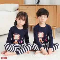 PJ071-lion Baju Tidur Set Anak Motif Karakter Unisex