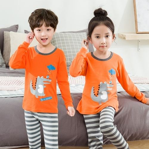 PJ071-orangedino Baju Tidur Set Anak Motif Karakter Unisex