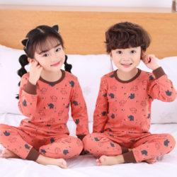 PJ071-orangefull Baju Tidur Set Anak Motif Karakter Unisex