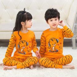 PJ071-orangetiger Baju Tidur Set Anak Motif Karakter Unisex