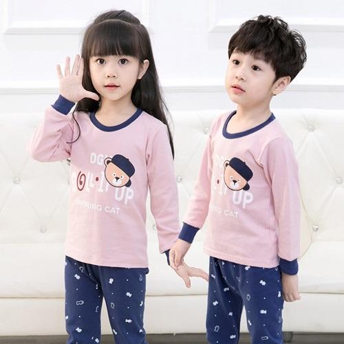 PJ071-pinkteddy Baju Tidur Set Anak Motif Karakter Unisex