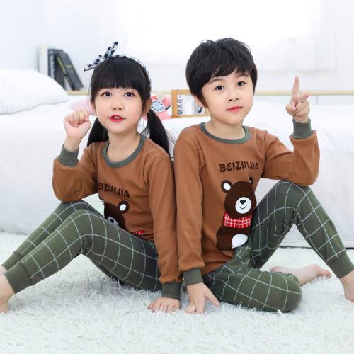 PJ071-scarfbear Baju Tidur Set Anak Motif Karakter Unisex
