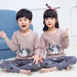PJ071-star Baju Tidur Set Anak Motif Karakter Unisex