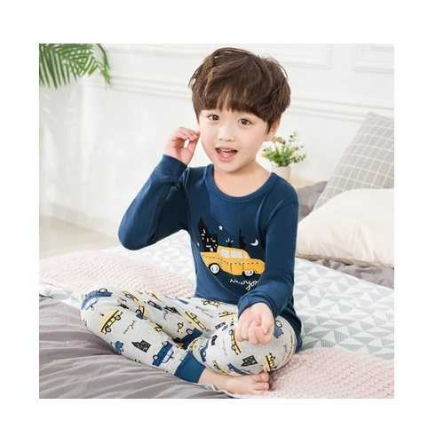 PJ071-wcar Baju Tidur Set Anak Motif Karakter Unisex