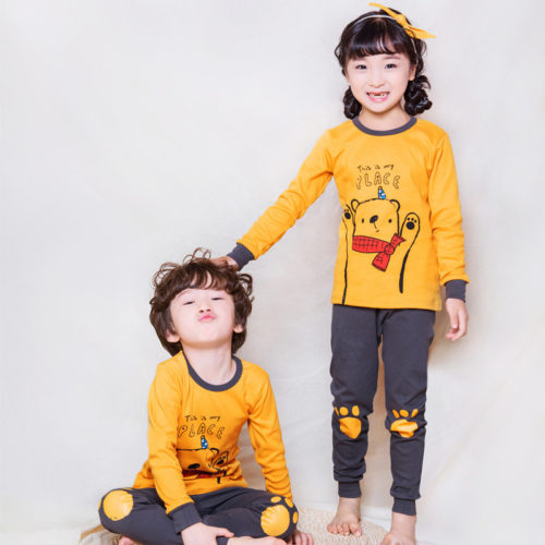 PJ071-yellowbear Baju Tidur Set Anak Motif Karakter Unisex