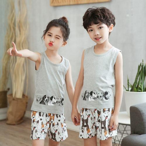 PJ09191-gray Baju Set Casual Anak Bahan Cotton Unisex
