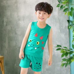 PJ09191-green Baju Set Casual Anak Bahan Cotton Unisex