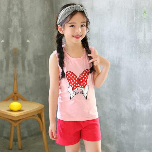 PJ09191-pink Baju Set Casual Anak Bahan Cotton Unisex