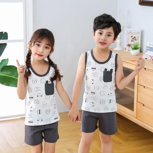 PJ09191-white Baju Set Casual Anak Bahan Cotton Unisex