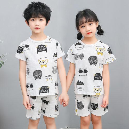 PJ09192-blackwhite Baju Set Casual Anak Bahan Cotton Unisex
