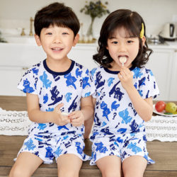 PJ09192-bluefrog Baju Set Casual Anak Bahan Cotton Unisex