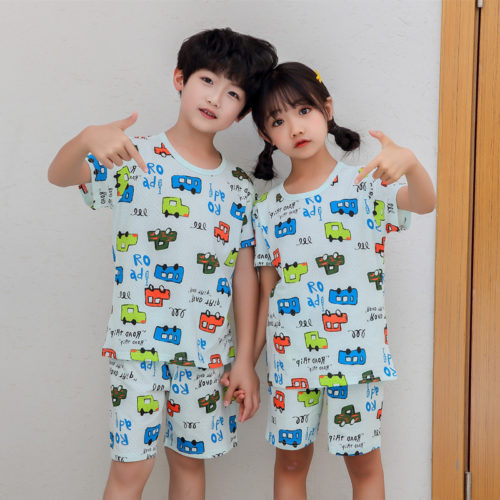 PJ09192-cars Baju Set Casual Anak Bahan Cotton Unisex