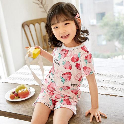 PJ09192-strawberry Baju Set Casual Anak Bahan Cotton Unisex