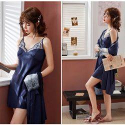 PJ4602-blue Baju Tidur Wanita Cantik Kekinian Import