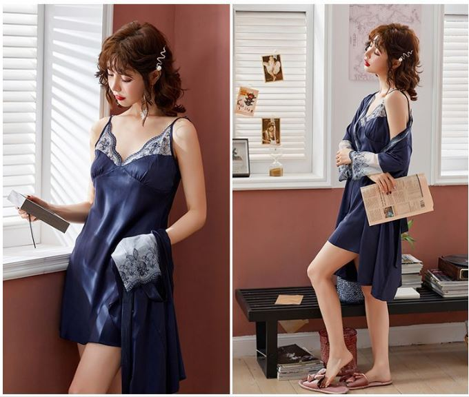 PJ4602 (2IN1) IDR.105.000 MATERIAL ARTIFICIAL SILK SIZE M,L,XL WEIGHT 250GR COLOR BLUE