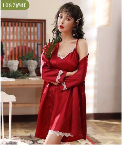 PJ4602-red Baju Tidur Wanita Cantik Kekinian Import