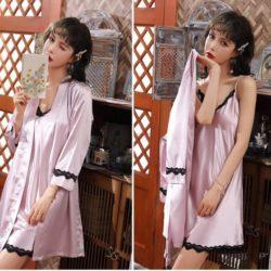 PJ4602-skintone Baju Tidur Wanita Cantik Kekinian Import
