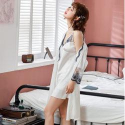 PJ4602-whitelace Baju Tidur Wanita Cantik Kekinian Import
