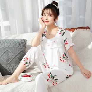 PJ4603-whiteflower Baju Tidur Wanita Cantik Nyaman Import Terbaru