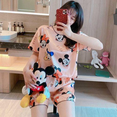 PJ4604-pinkmickey Baju Tidur Set Wanita Bahan Sutra Lembut