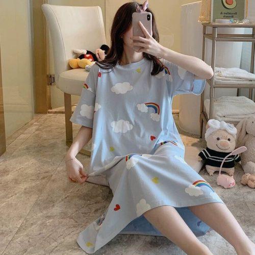 PJ4605-bluecloud Dress Piyama Import Bonus Pouch