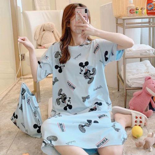 PJ4605-bluemickey Dress Piyama Import Bonus Pouch