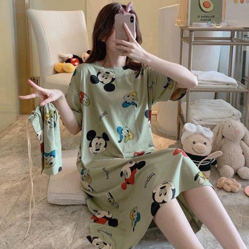 PJ4605-greenmickey Dress Piyama Import Bonus Pouch