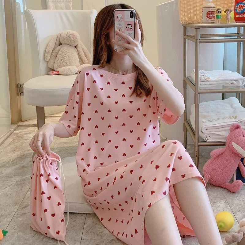 PJ4605 (FREE-POUCH) IDR.55.000 MATERIAL MILKSILK SIZE M,L,XL WEIGHT 200GR COLOR PINKDOT