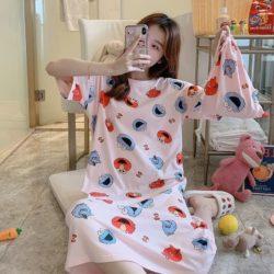 PJ4605-pinksesame Dress Piyama Import Bonus Pouch