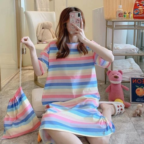 PJ4605-rainbowstriped Dress Piyama Import Bonus Pouch