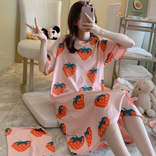 PJ4605-strawberry Dress Piyama Import Bonus Pouch