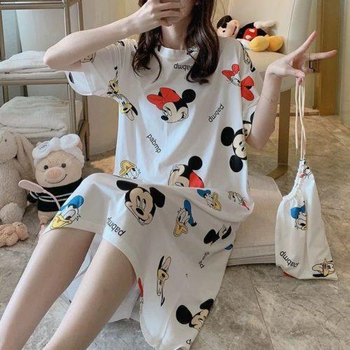 PJ4605-whitemickey Dress Piyama Import Bonus Pouch