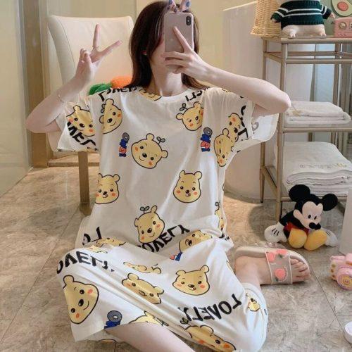 PJ4605-whitepooh Dress Piyama Import Bonus Pouch