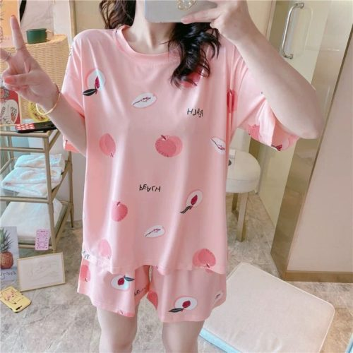 PJ4606-peach Piyama Wanita Imut Comfy (Tanpa Pouch)