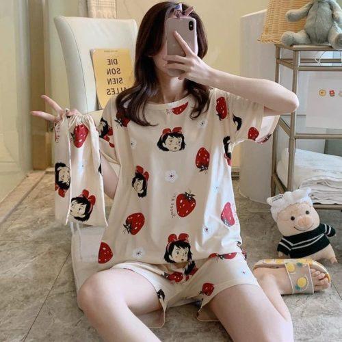 PJ4606-strawberryA Piyama Wanita Imut Comfy (Tanpa Pouch)
