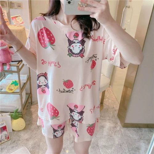 PJ4606-strawberryB Piyama Wanita Imut Comfy (Tanpa Pouch)