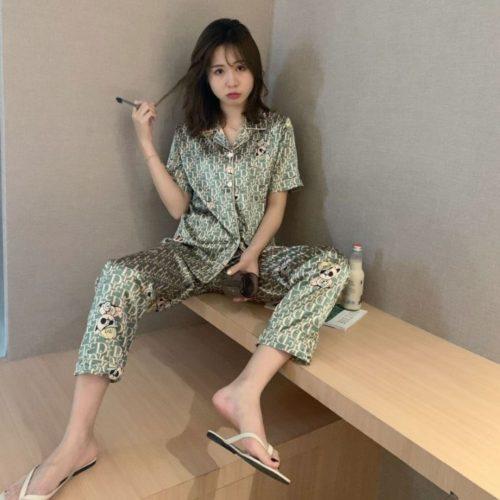 PJ4607-greendc Piyama Celana Panjang Sutra Lembut