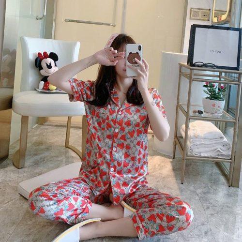 PJ4607-strawberry Piyama Celana Panjang Sutra Lembut