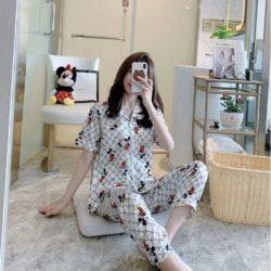 PJ4607-whitemickey Piyama Celana Panjang Sutra Lembut